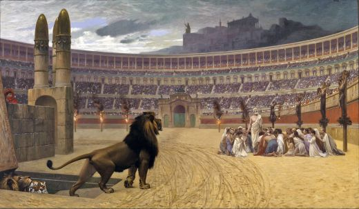 19th century depiction of Christian martyrs in Roman Colosseum.