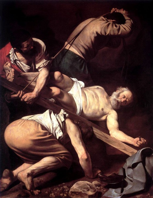 Caravaggion's depiction of the crucifixion of Peter.