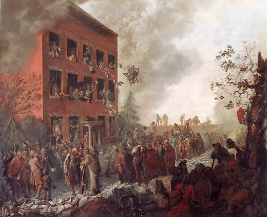 Johann Eckstein's (1791) depiction of a mob burning Joseph Priestley's home.